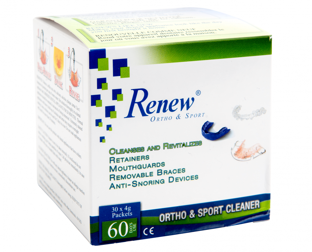 Renew Ortho and Sport, dental appliance cleaner
